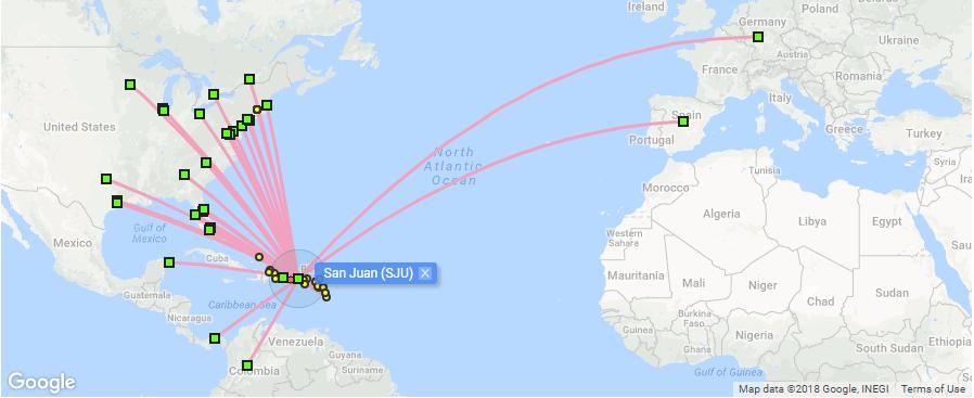 direct flight destinations from SJU